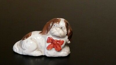 Vintage JAPAN Puppy Dog with Red Bow Figurine Ceramic