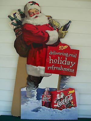 1998 Coca Cola Coke Christmas Santa Clause Cardboard Stand Up Store Sign Display