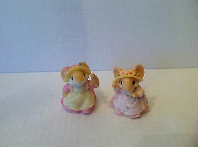 """2 Ganz Little Cheesers Figurines """"Mama eating Cookie"""" & """"Mama w Rolling Pin"""""""