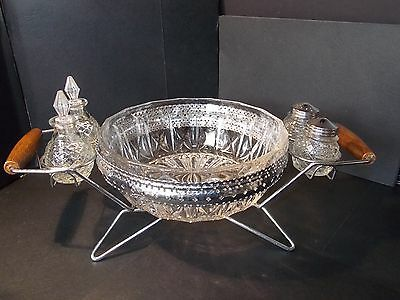 Vintage condiment set salt and pepper 2 sauce and central bowl chrome plated 41x