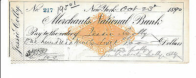 Antique  Check Mercants National Bank, New York.  1890 Jessie Colby