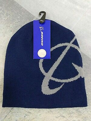 Boeing Knit Cap Beanie One Size Navy Blue 100% Acrylic NWT