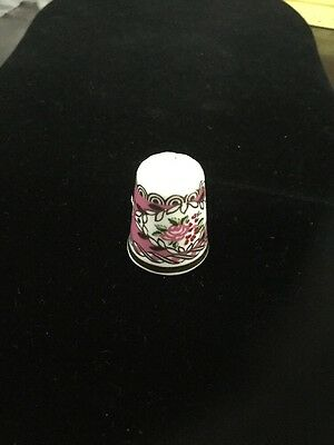 Vintage Porcelain HAMMERSLEY Floral Thimble Made in England Franklin Mint Series