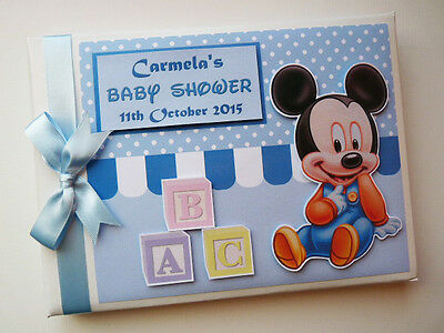 Personalised Baby Mickey First/1St Birthday  Boy/girl Guest Book - Any Design