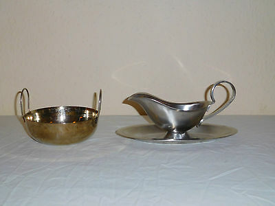 200 Ml 18-8  Stainless Steel Gravy Boat & A 250 Ml Chutney Etc Serving Dish