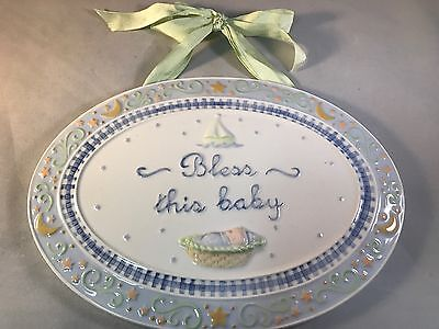 Amscan Plaque Baby Plaque Bless this Baby Nursery Decor Boy or Girl Blue Green