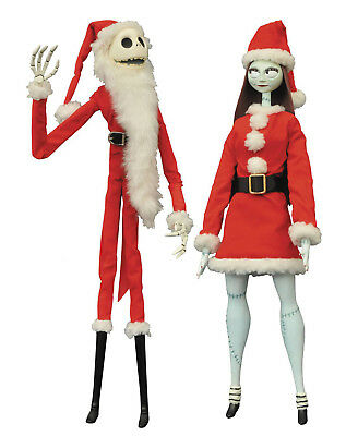 The Nightmare Before Christmas Jack and Sally Santa Ver. Coffin Doll Set