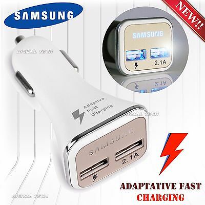 New OEM FAST CHARGER SAMSUNG LED CAR DUAL USB S6 Note 2 4 5 Port Adaptive RAPID