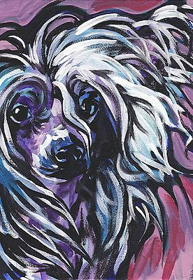 """Chinese Crested colorful dog portrait print of bright pop art Painting 8.5x11"""""""