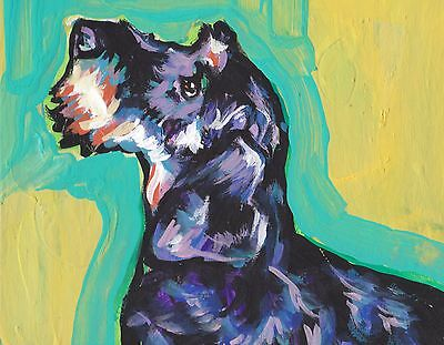 """Dachshund dog portrait print of wirehaired doxie pop art Painting 8.5x11"""""""