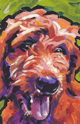 """red Golden Doodle dog portrait print of bright colorful pop art Painting 13x19"""""""