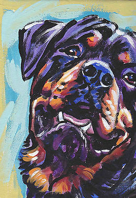 """ROTTWEILER dog portrait print of bright colorful pop art painting 13x19"""""""