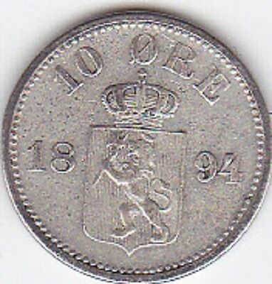 Norway 10 Ore 1894. Silver No Reserve!
