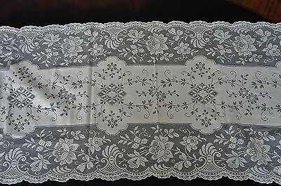 Exquisite Antique Hand Made Lace Runner Table Scarf Ecru 57x15