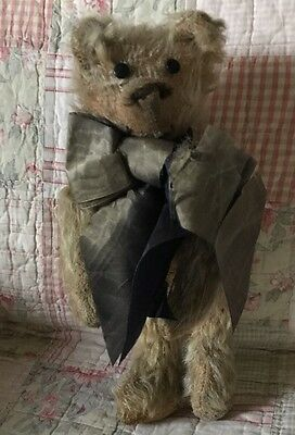 Sweet Antique Jointed Teddy Bear 11 Inch With Old Bow