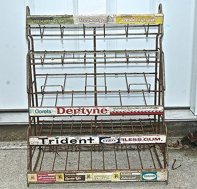 Vintage Gum Candy ** DEALER STORE COUNTER DISPLAY ** Wire Rack Advertising Sign