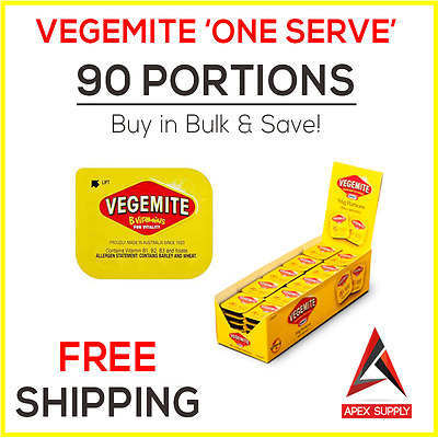 90 x Vegemite Single Serve Portions - Australian Breakfast Snack Motel EXP AUG17
