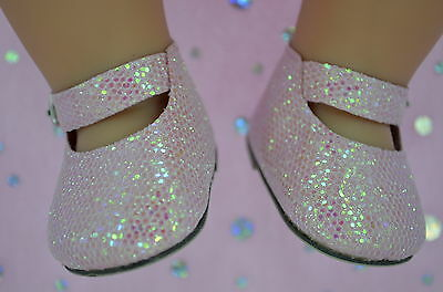 """Dolls Shoes For 17""""Baby Born~18""""American Girl  PINK SPARKLE MARY JANE SHOES"""