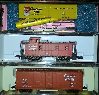 NIB N Scale Canadian Pacific Boxcar, Caboose and Carnation Reefer Cars