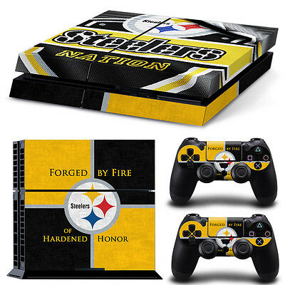 Pittsburgh Steelers Sticker Decal Skin For PS4 Console + 2 Controllers