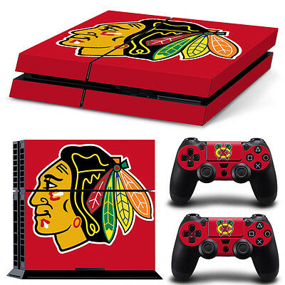 Chicago Blackhawks Sticker Decal Skin For PS4 Console + 2 Controllers