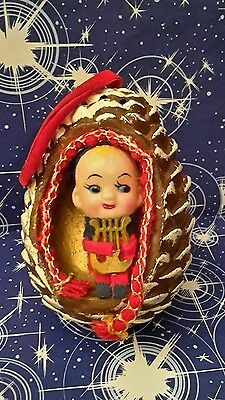 Vintage Christmas Elf Pixie in a Pinecone playing the Harp Holiday Collectibles