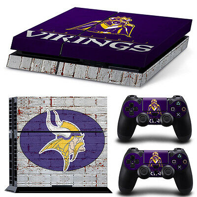 Minnesota Vikings Sticker Decal Skin For PS4 Console + 2 Controllers