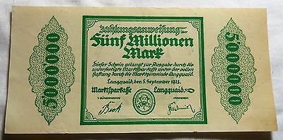 1923 Langquaid Germany Five Million Mark Note