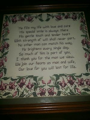 Beautiful Vintage Hand Stitched Embroidered Needlepoint Verse Sampler 14 x 14