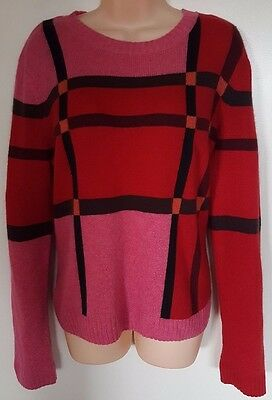 Lily Pulitzer Women L Sweater Vintage Red Preppy Lambswool Cashmere Angora Blend