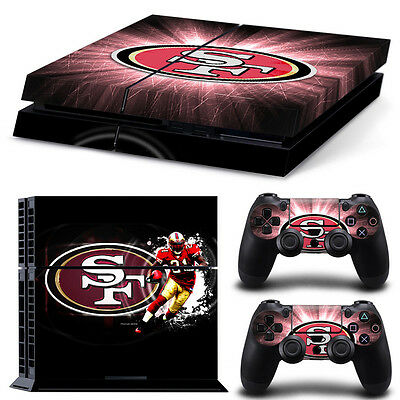 San Francisco 49ers Sticker Decal Skin For PS4 Console + 2 Controllers