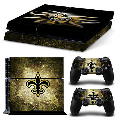 New Orleans Saints Sticker Decal Skin For PS4 Console + 2 Controllers
