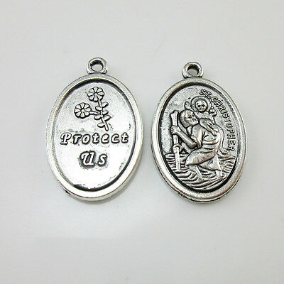 100pcs of St Christopher Medal Protect Us Religious Pendant