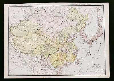 1913 China Japan Railroad Map Great Wall Mongolia Large Double Page Original