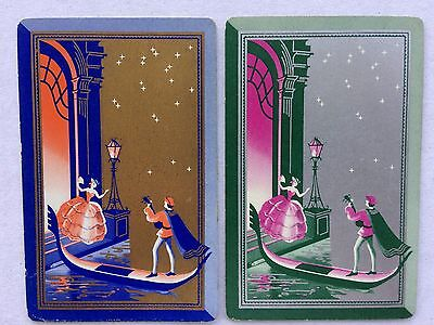 Vintage Swap / Playing Card Pair - Venice - Gondola - Ladies - Silhouettes