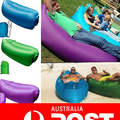 Fast Inflatable Air Sleeping Bag Camping Bed Beach Hangout Festival Sofa Lounge
