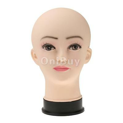 Bald Female Mannequin Head Stand Display Wigs Scarf Headphones Glasses