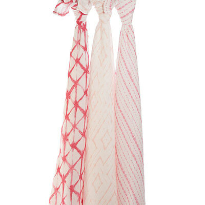 NEW aden + anais  3-pack silky soft bamboo swaddles - Berry Shibori