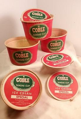 Vintage COBLE ICE CREAM Cups & Lids by Dixie Cups - Lexington, NC  NOS MINT