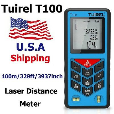 USA Ship Tuirel100m/328ft Laser Distance Meter Range Finder Measure Instrument