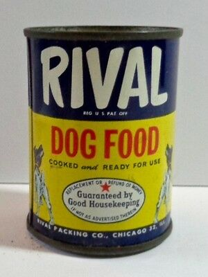 Vintage Rival Dog Food Small Tin Still Bank Pet Food Promotional Advertising