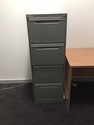 Filing cabinet - 4 x drawer, gun metal grey