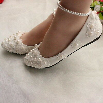 New  Wedding shoes pearls ankle trap Bridal shoes flats White lace size 5-10
