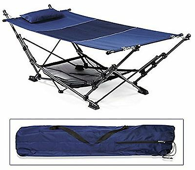 2 Tone Navy Blue, Hammock With Durable Steel Frame 170783