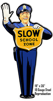 Police Man Crossing Guard School Crossing Laser Cut Out Reproduction Metal Sign