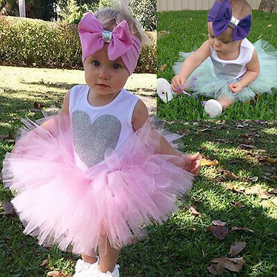 US 3PCS Newborn Baby Girl Outfit Romper Jumpsuit Tutu Skirt Headband Clothes Set