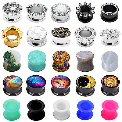 Pair Silicone Stone Wood Stainless Steel Ear Tunnels Plugs Stretchers-Ear Gauges