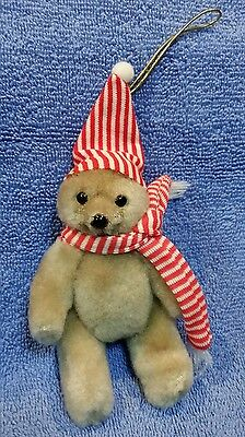 Vtg Christmas Tree Ornament Jointed Bear Wearing Red & White Stripe Hat & Scarf