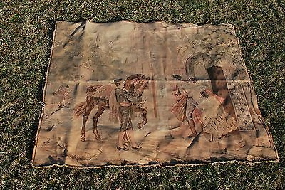 Vintage Made In France 46 1/2 X 38 1/2 inch Wall Tapestry Two Lovers Dash