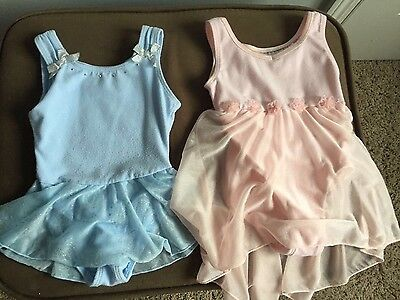 Danskin Freestyle toddler Two leotards dance blue pink skirt size 2-3 girl